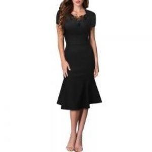 Dress Barn classic black sheath midi dress size 10